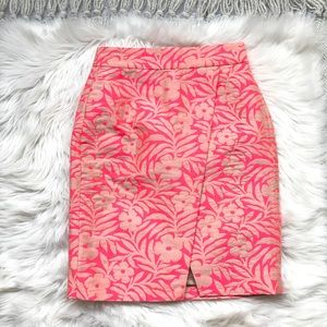 J. Crew Pink Plumeria Jacquard Skirt